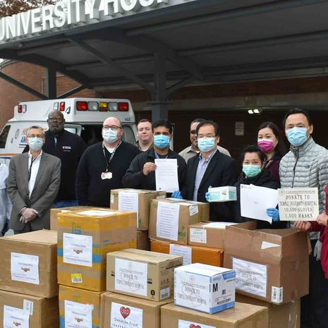 mask donation to Temple Hospital