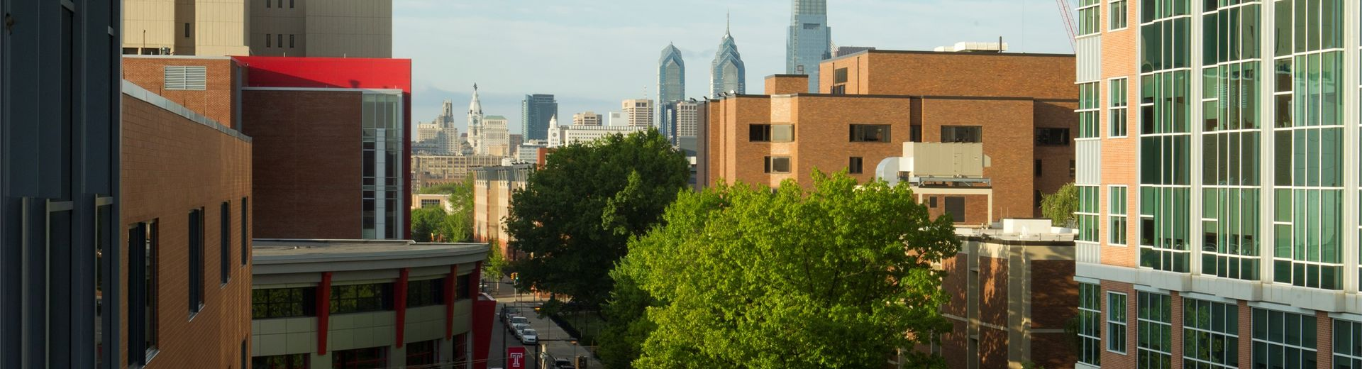 The Temple University campus at dawn with the Center City skyline in the background