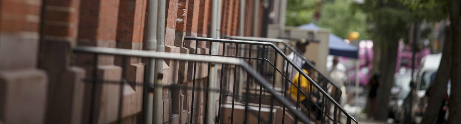 row of neighborhood stoops in Philadelphia